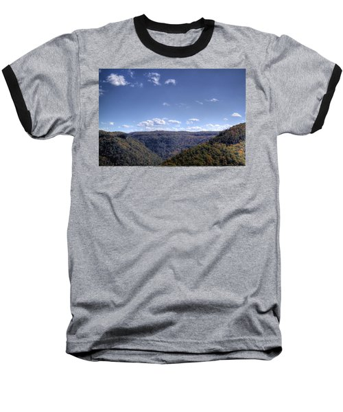 Wide Shot Of Tree Covered Hills Baseball T-Shirt