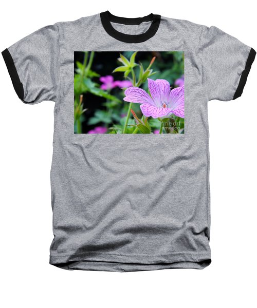 Baseball T-Shirt featuring the photograph Wild Geranium Flowers by Clare Bevan