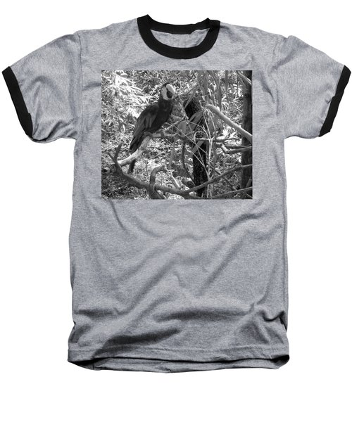 Baseball T-Shirt featuring the photograph Wild Hawaiian Parrot Black And White by Joseph Baril