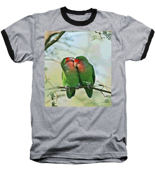 Wild Peach Face Love Bird Whispers Baseball T-Shirt