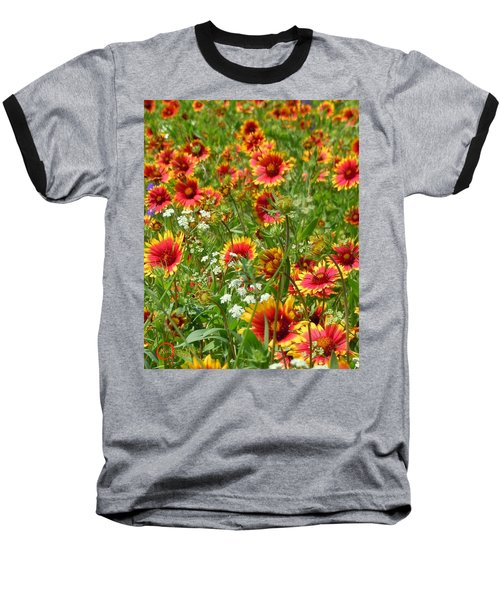Baseball T-Shirt featuring the photograph Wild Red Daisies #2 by Robert ONeil