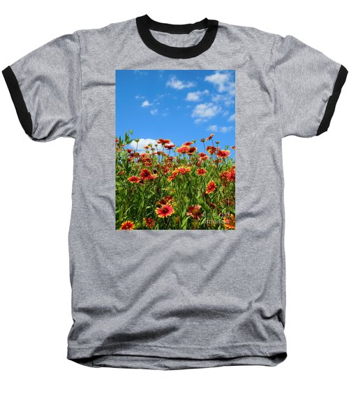 Baseball T-Shirt featuring the photograph Wild Red Daisies #5 by Robert ONeil