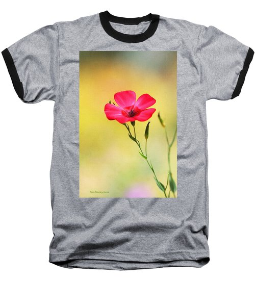 Wild Red Flower Baseball T-Shirt by Tom Janca