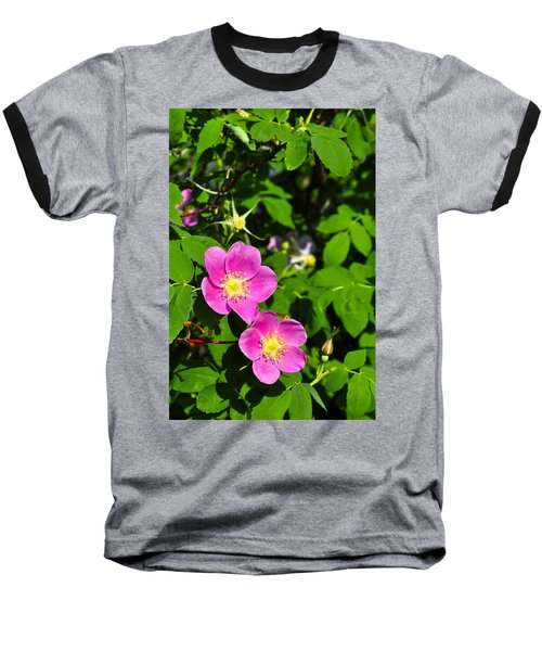 Baseball T-Shirt featuring the photograph Wild Roses by Cathy Mahnke
