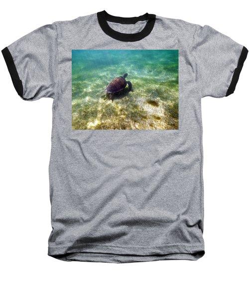 Baseball T-Shirt featuring the photograph Wild Sea Turtle Underwater by Eti Reid