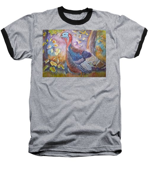 Wild Turkey In The Brush Baseball T-Shirt by Belinda Lawson
