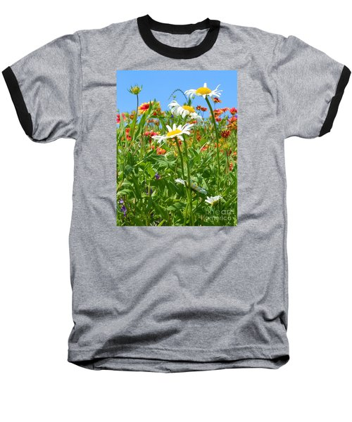 Baseball T-Shirt featuring the photograph Wild White Daisies #2 by Robert ONeil