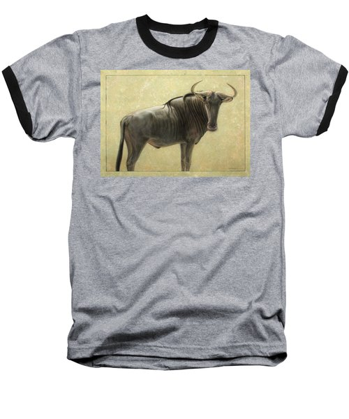 Wildebeest Baseball T-Shirt by James W Johnson