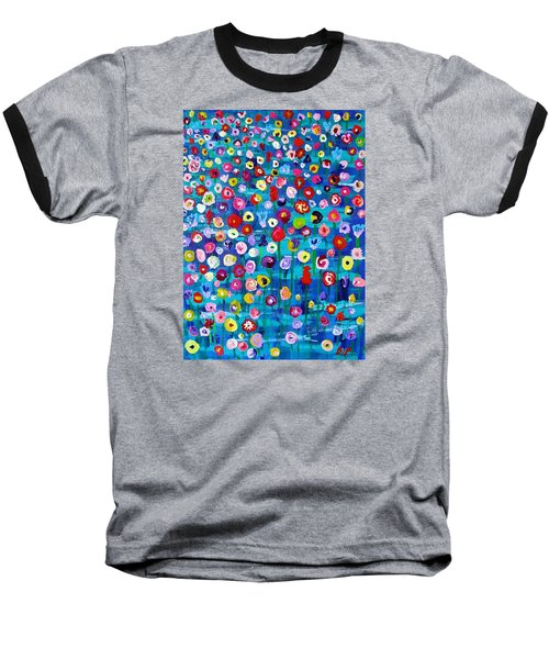 Baseball T-Shirt featuring the painting Wildflower Fiesta by Brenda Pressnall