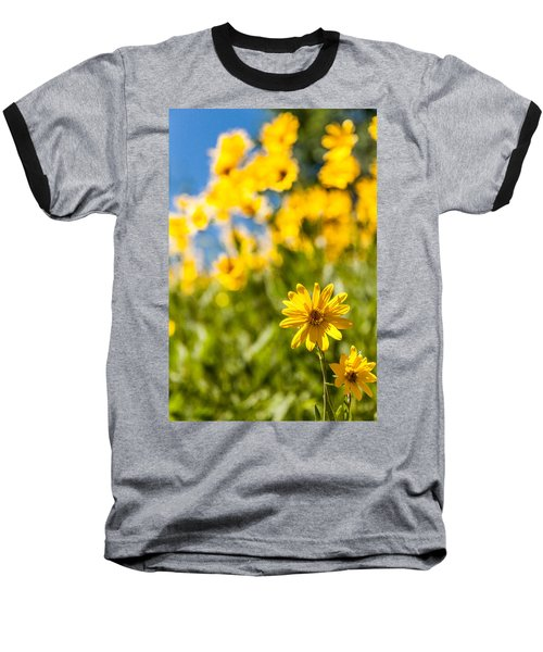 Wildflowers Standing Out Abstract Baseball T-Shirt