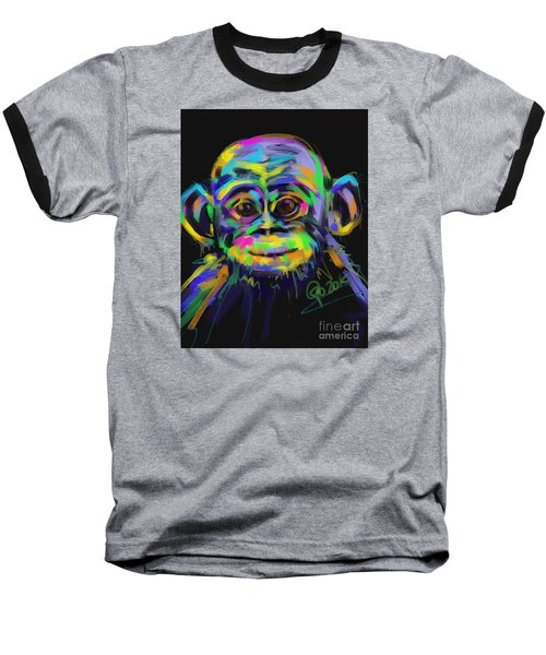 Wildlife Baby Chimp Baseball T-Shirt by Go Van Kampen