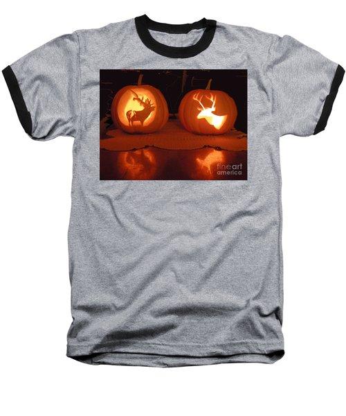 Wildlife Halloween Pumpkin Carving Baseball T-Shirt