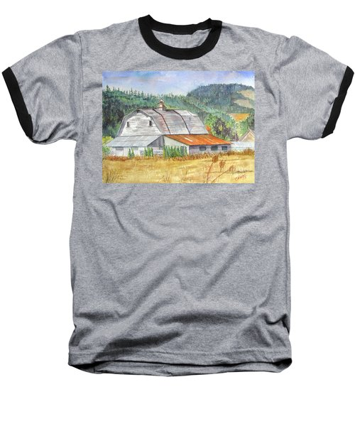 Baseball T-Shirt featuring the painting Willamette Valley Barn by Carol Flagg