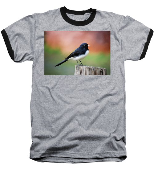 Willy Wagtail Austalian Bird Painting Baseball T-Shirt