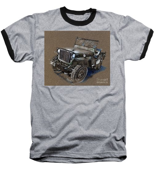 Willys Car Drawing Baseball T-Shirt
