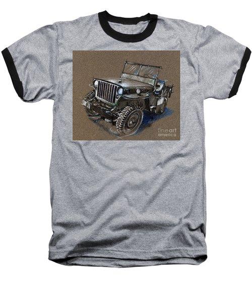 Willys Car Drawing Baseball T-Shirt