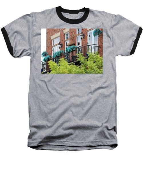 Blue Flowers On A Balcony  Baseball T-Shirt