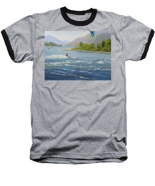 Baseball T-Shirt featuring the painting Wind And Water by Karen Ilari
