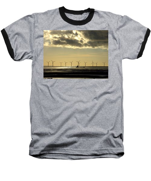 Wind Farm At Sunset Baseball T-Shirt