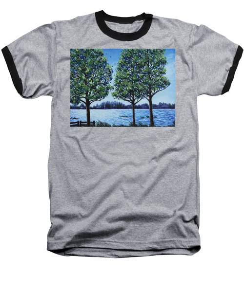Baseball T-Shirt featuring the painting Wind In The Trees by Penny Birch-Williams