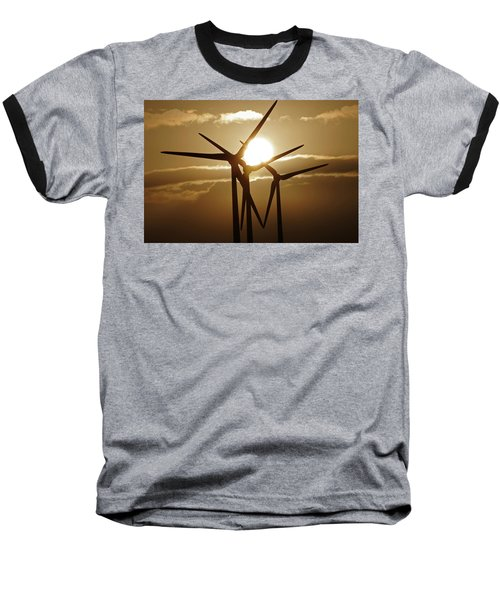 Wind Turbines Silhouette Against A Sunset Baseball T-Shirt