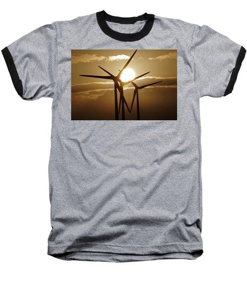 Wind Turbines Silhouette Against A Sunset Baseball T-Shirt