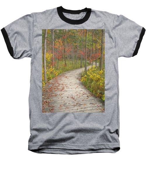 Winding Woods Walk Baseball T-Shirt by Ann Horn