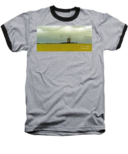 Windmill And Rapeseed And Storm Baseball T-Shirt