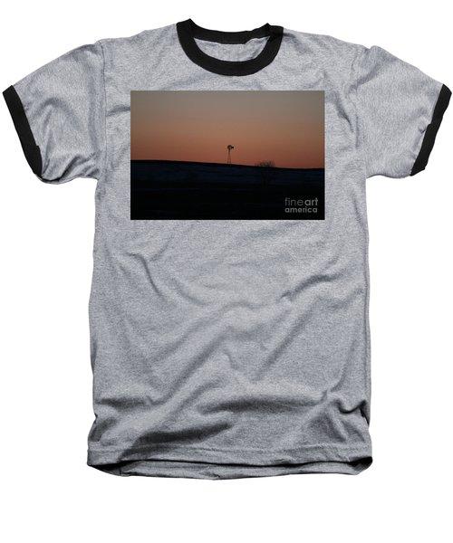 Windmill At Sunset Baseball T-Shirt