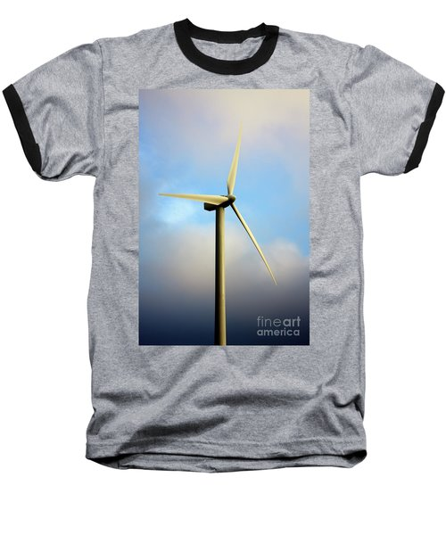 Windmill Dark Blue Sky Baseball T-Shirt