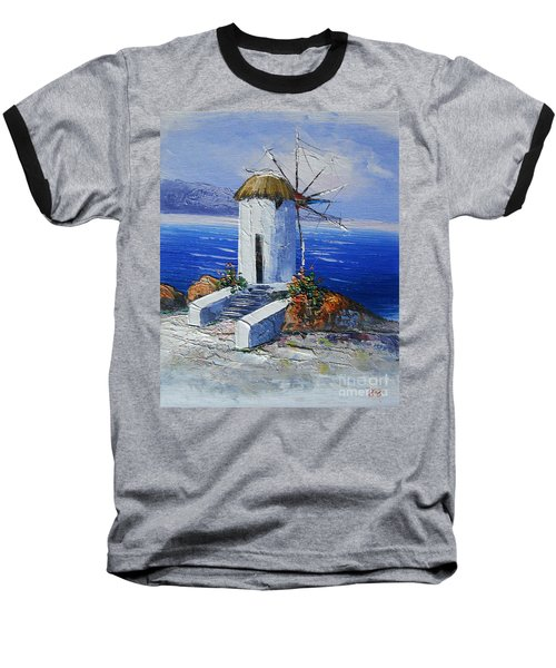 Windmill In Greece Baseball T-Shirt