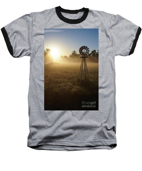 Windmill In The Fog Baseball T-Shirt