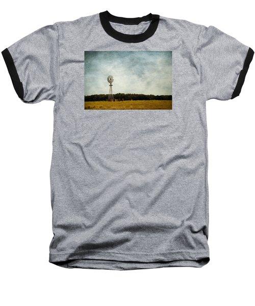Windmill On The Farm Baseball T-Shirt by Beverly Stapleton