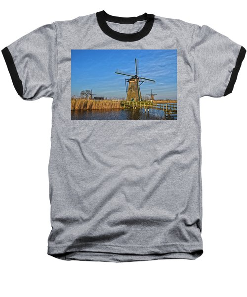 Windmills And Bridge Near Kinderdijk Baseball T-Shirt