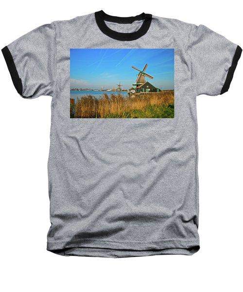 Baseball T-Shirt featuring the photograph Windmills On De Zaan by Jonah  Anderson