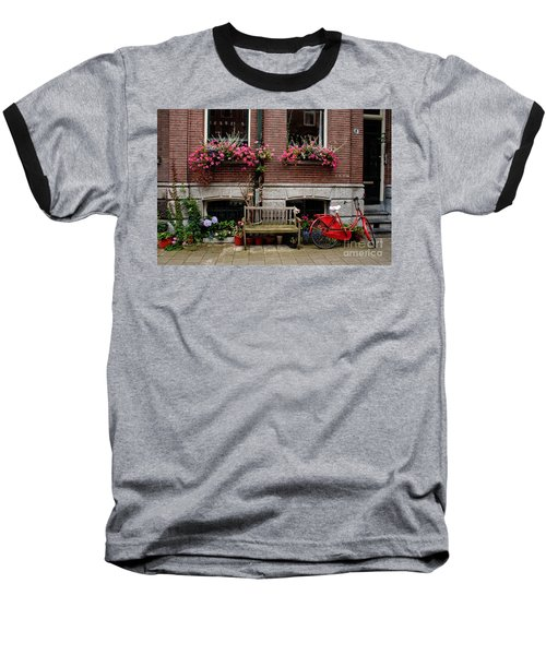 Window Box Bicycle And Bench  -- Amsterdam Baseball T-Shirt