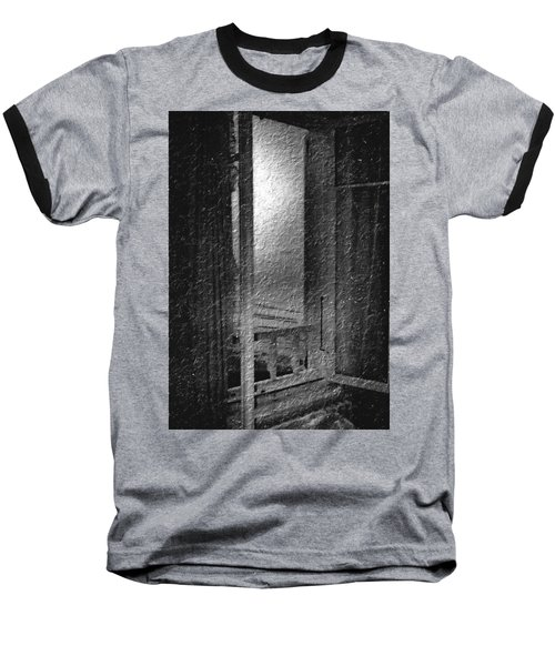 Window Ocean View Black And White Digital Painting Baseball T-Shirt