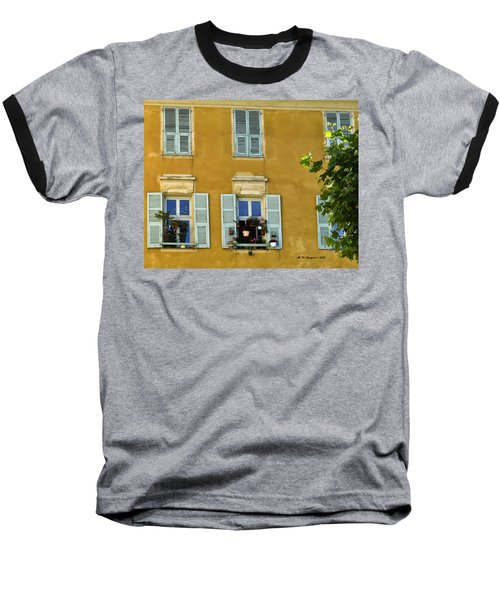 Baseball T-Shirt featuring the photograph Windowboxes In Nice France by Allen Sheffield