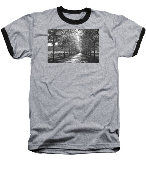 Wine Country Napa Black And White Baseball T-Shirt by Suzanne Gaff