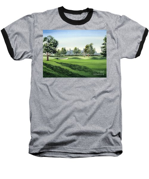 Baseball T-Shirt featuring the painting Winged Foot West Golf Course 18th Hole by Bill Holkham