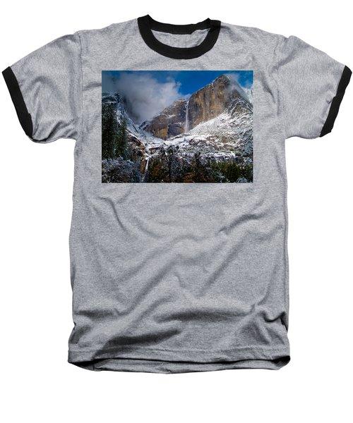 Winter At Yosemite Falls Baseball T-Shirt by Bill Gallagher