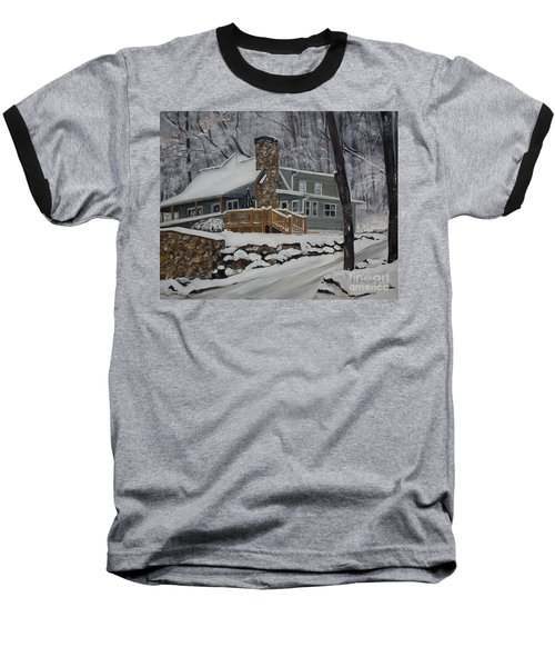 Winter - Cabin - In The Woods Baseball T-Shirt