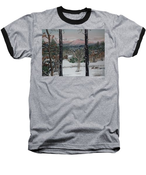 Winter - Cabin - Pink Knob Baseball T-Shirt