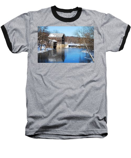 Winter Capture Of The Old Jaeger Rye Mill Baseball T-Shirt by Janice Adomeit