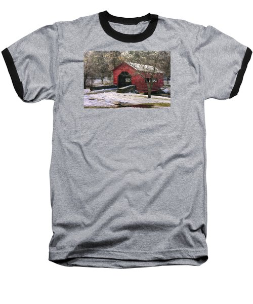 Winter Crossing In Elegance - Carroll Creek Covered Bridge - Baker Park Frederick Maryland Baseball T-Shirt by Michael Mazaika