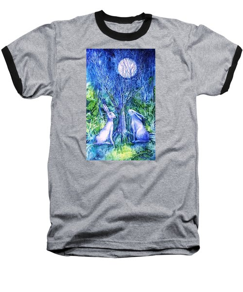 Winter Descends As Two Hares Contemplate An Owl By Moonlight Baseball T-Shirt by Trudi Doyle