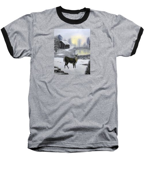 Winter Doe Baseball T-Shirt by Sheri Keith