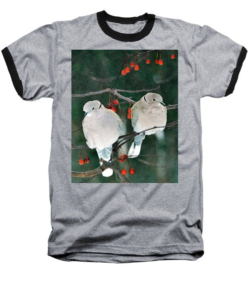 Winter Doves Baseball T-Shirt