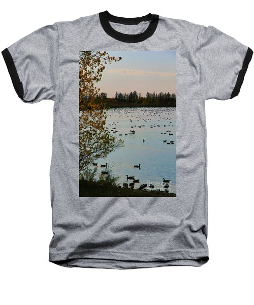 Baseball T-Shirt featuring the photograph Winter Escape Gathering by Teresa Zieba