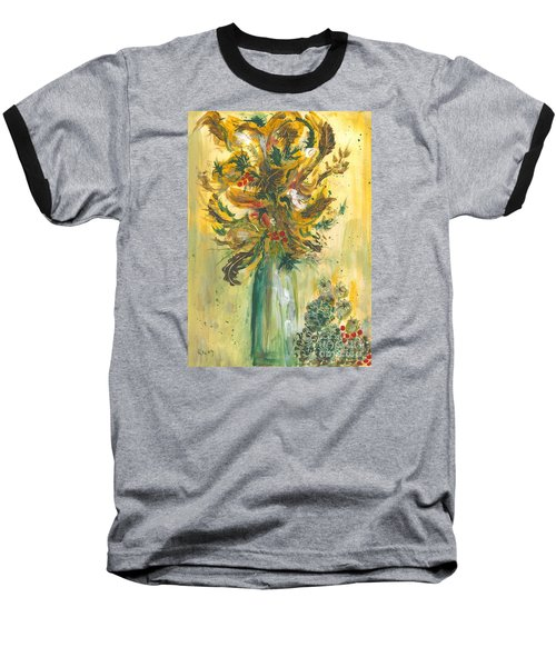Winter Flowers Baseball T-Shirt by Veronica Rickard